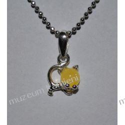 Kotek z bursztynu w srebrze WA106 Biżuteria i Zegarki