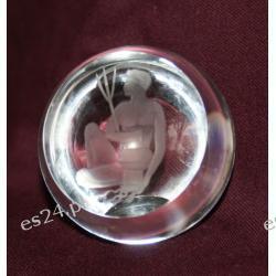 Wodnik - szklana rzeźbiona półkula POZ01 Antyki i Sztuka