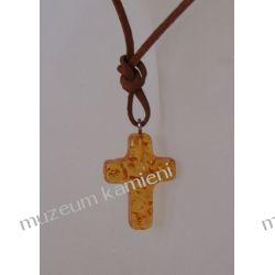 Wisior krzyżyk na rzemieniu jasny W026 Biżuteria i Zegarki
