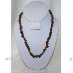 Naszyjnik z obsydianu brązowego NS044 Biżuteria i Zegarki