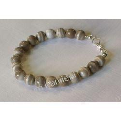 Kulki z krzemienia pasiastego - piękna bransoletka w srebrze B040 - długość 19,2 cm Biżuteria i Zegarki
