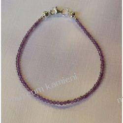 Bransoletka z drobniutkich, fasetowanych ametystów B08 - 20,5 cm długości Biżuteria dla Pań