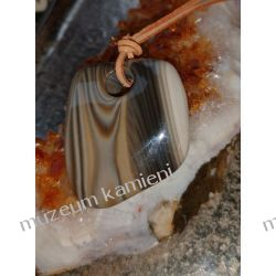 Przepiękny wisior z krzemienia pasiastego w srebrze Wisiorki