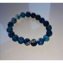 Niebieski agat - bransoletka na gumce BB37 Biżuteria i Zegarki