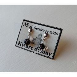 Kolczyki z kwarcu dymnego w srebrze KWK038- urocze kuleczki Kolczyki
