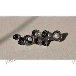 Piękna broszka ze srebra i pereł  Broszki