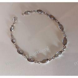Bransoletka z kwarcu dymnego w srebrze B04 - 19,1 cm