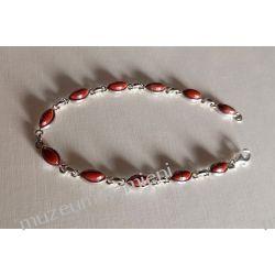 Bransoletka z jaspisu czerwonego w srebrze B05 - 19 cm Biżuteria i Zegarki