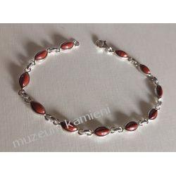 Bransoletka z jaspisu czerwonego w srebrze B11 - 20 cm Kolczyki