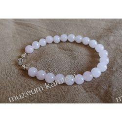 Piękna bransoletka z kwarcu różowego w srebrze B63 - 20 cm Naszyjniki