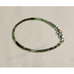 Piękna bransoletka ze szmaragdów w srebrze B161 - 17 cm Wisiorki