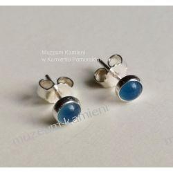 Piękne kolczyki z niebieskiego agatu w srebrze KWK088 Ze srebra