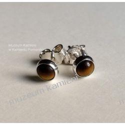 Kolczyki z tygrysiego oczka w srebrze KWK086 Ze srebra