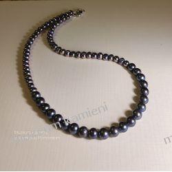 Naszyjnik z pereł w dwóch odcieniach w srebrze N003 długość 42,8cm Biżuteria i Zegarki