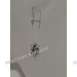 Kolczyki - kryształ górski z wrostkami turmalinu w srebrze KW048 Biżuteria i Zegarki