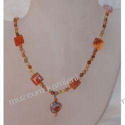 Naszyjnik z agatu ognistego i jaspisu w srebrze N025 Biżuteria i Zegarki