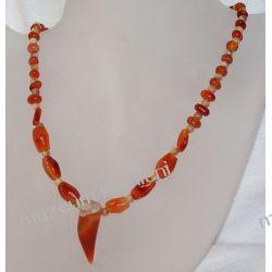 Naszyjnik z karneolu w srebrze N021 Biżuteria i Zegarki