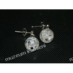 Kolczyki z kryształu górskiego kulki KWK100 Biżuteria i Zegarki