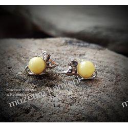 Urocze myszki - srebrne kolczyki z bursztynu KWK077 Biżuteria i Zegarki