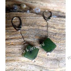 Piękne kolczyki z nefrytu w srebrze KW013 Biżuteria i Zegarki