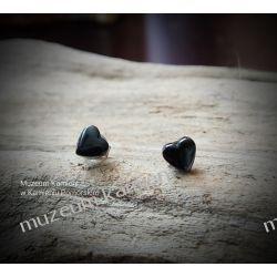 Urocze serduszka z hematytu - kolczyki w srebrze KWK082 Biżuteria i Zegarki