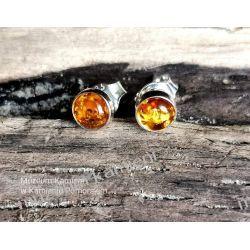 Sówki - urocze kolczyki z bursztynu w srebrze  Biżuteria i Zegarki