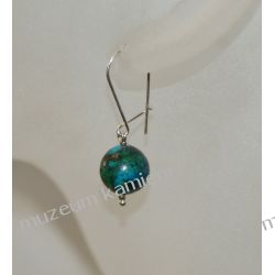 Piękna chryzokola - kolczyki kulki z chryzokoli w srebrze KW055 Biżuteria i Zegarki