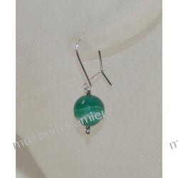 Kolczyki z agatu zielonego w srebrze KW035 Biżuteria i Zegarki