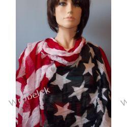 DUŻY  WIOSENNA chusta  szal z FLAGĄ  USA  wiskoza