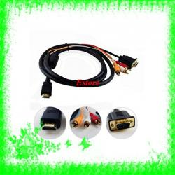 Kabel HDMI na VGA + 3RCA do laptopów i TV FULL HD