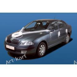 Zestaw do dekoracji samochodu z wianuszkami (DEW1) / biały Zaproszenia, zawiadomienia