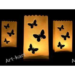 Lampiony torebki ażurowe na świece motyle / 10szt