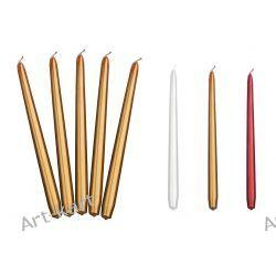 Świece stożkowe proste metalizowane 29cm x 10szt / r. kolory