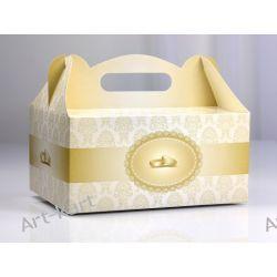 Pudełka na ciasto weselne z obrączkami / 10szt