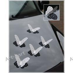 Motyle ozdobne ażurowe 14cm - perłowe 10szt