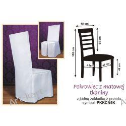 Pokrowiec z białej tkaniny na krzesło z kwadratowym oparciem / PKKCN5K Zaproszenia, zawiadomienia
