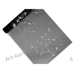 Organza czarna ze srebrnym nadrukiem 36cm x 9m / bieżnik na stół