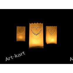 Lampiony torebki ażurowe na świece serce / 10szt