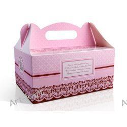 Pudełka na ciasto komunijne z podziękowaniem różowe PUDCS6R / 10szt