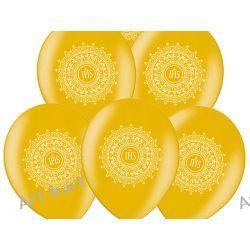 """Balony 14"""" komunijne metalik złote z nadrukiem IHS / 6szt"""