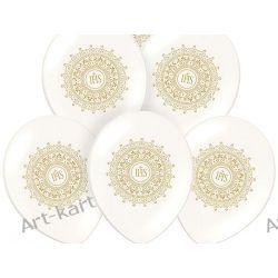 """Balony 14"""" komunijne metalik perła z nadrukiem IHS / 6szt"""