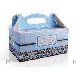 Pudełka na ciasto komunijne z podziękowaniem niebieskie PUDCS6B / 1szt