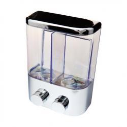 Dozownik do mydła podwójny naścienny chrom