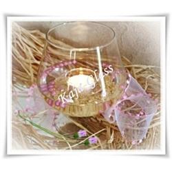 Kielich świecznik szkło wazon szklany 15cm ślub