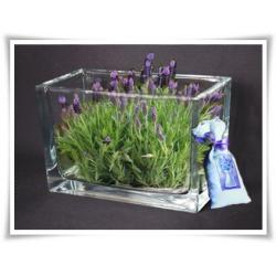 Wazon prostkąt szkło świecznik szklany wys 10cm