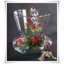 Wazon świecznik szklany 16cm wystrój prezent szkło