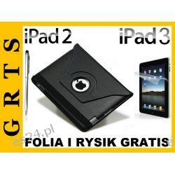 iPad2 iPad3 ETUI OBROTOWE 360 SKÓRA+FOLIA NA EKRAN i RYSIK GRATIS!