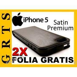 SATYNOWE ETUI FUTERAŁ KABURA POKROWIEC PREMIUM Apple iPhone 5+2XFOLIA NA EKRAN