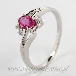 Złoty pierścionek z naturalnym różowym szafirem 0,35 do 0,40 ct i brylantami 0,06 ct PK0106MK