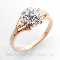 Złoty pierścionek z 9-cioma cyrkoniami PK0164MK